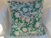 White on Green Sequins Throw Pillow Cover 16 x 16