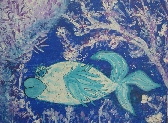 Flow Bright Blue Fish Modern Painting