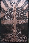 Etched Rugged Cross in Copper and Black