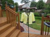 Beautiful summer yellow cardigan with silver threaded black yarn trim