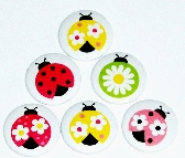 Fridge magnets set of 6  Ladybugs  fm54