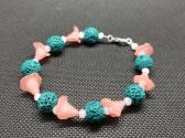 Teal Lava And Pink Lilies Bracelet