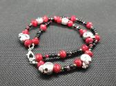 Red Bling and Skull Bracelet