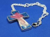 Blue Resin Cross Necklace