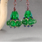 Handmade Emerald Glass Earrings Bronze Wire Wrapped