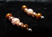 Ear Pins  Copper Freshwater Pearls with Stardust Beads  Pair   Earrings