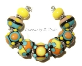 Fun Fiesta lampwork bead set by Kathleen Urato