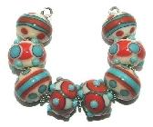 Southwestern Splendor lampwork bead set by Kathleen Urato