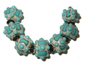 Turquoise and Ivory lampwork bead set by Kathleen Urato SRA