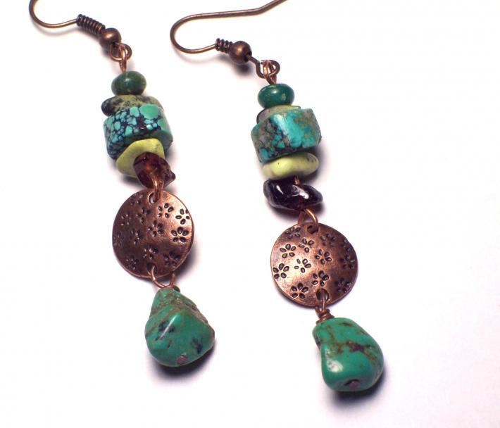 Copper Disc Turquoise Boho dangle earrings