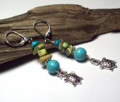 Turquoise Dangle Boho Earrings with Turtle Charms