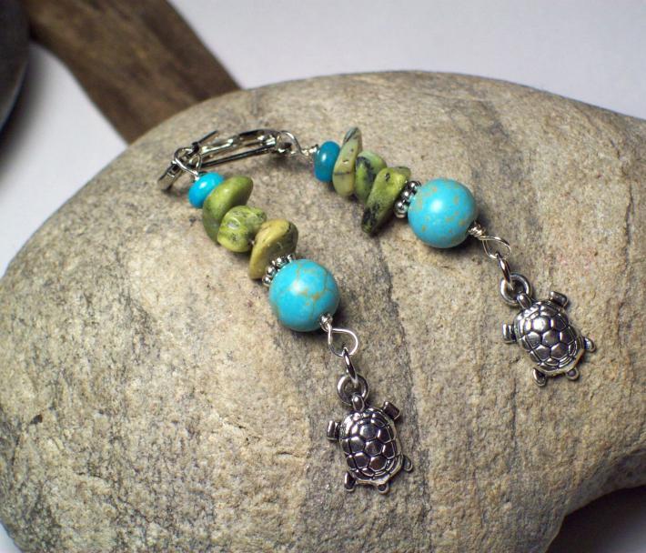 Turquoise Dangle Boho Earrings with Turtle Charms