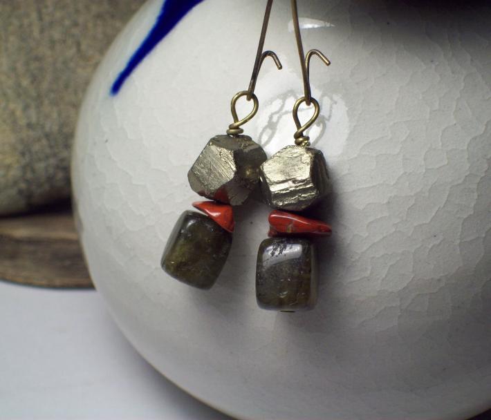 Red Jasper Pyrite and Labradorite cube earrings