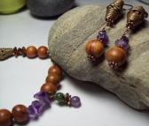 Amethyst and Bayong Wood Bead Boho Bracelet Set