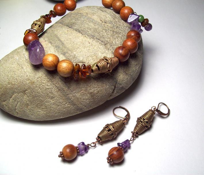 Amethyst and Bayong Wood Bead Boho Bracelet Set