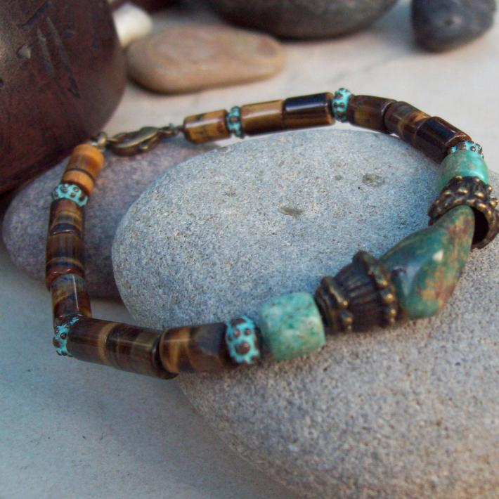 Cleo natural Turquoise bracelet with Tigers eye and Copper