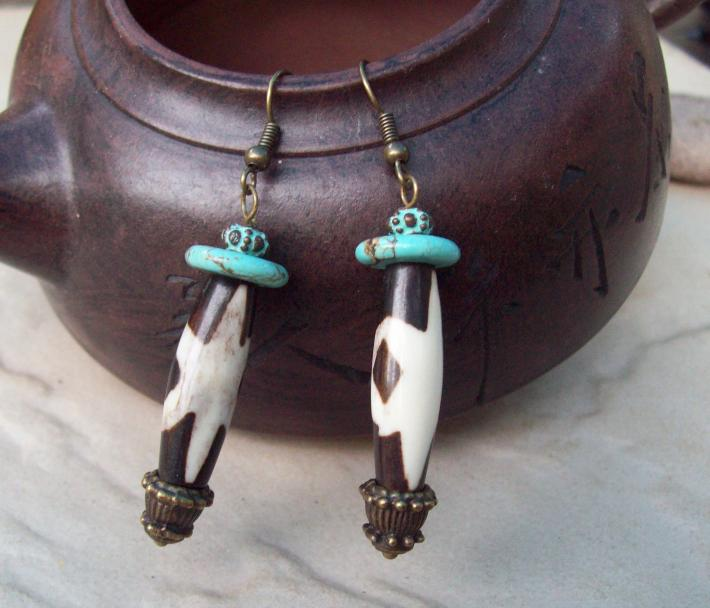 African Batik Bone earrings with Turquoise Magnasite