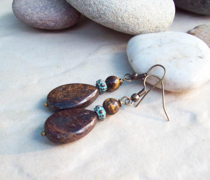 Bronzite Teardrop Dangle earrings with Tigers Eye