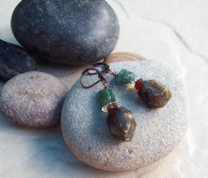 Rock and Raw Labradorite with Amber and Raw Green Apatite