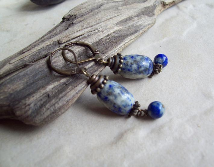 Pocahontas Denim Lapis Oval dangle earrings with Brass and Lapis Lazuli beads