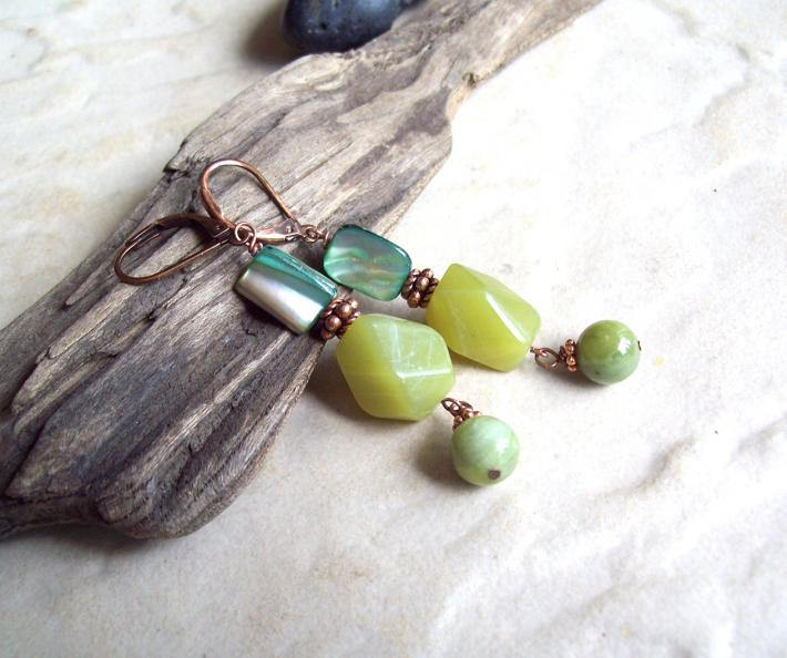 Tropical Tea  Olive Jade green faceted dangle earrings with Multicolored natural Shell