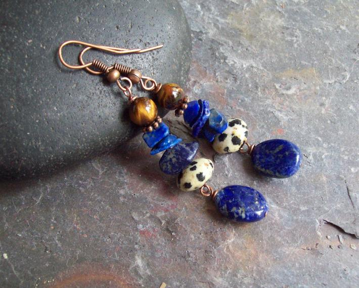 Mood Indigo Laps Lazuli Oval dangle earrings with Dalmation Jasper