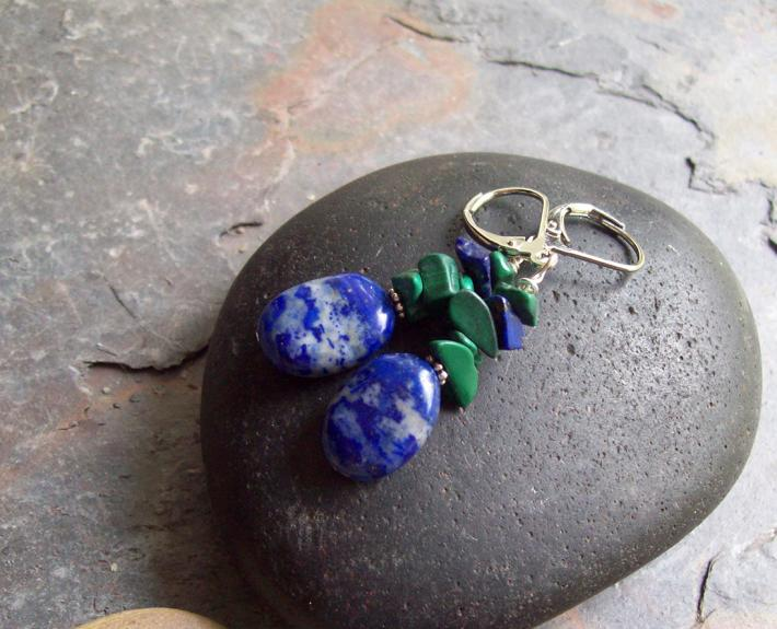 Deep Blue Sea Lapis Lazuli Oval dangle earrings with Malachite chips and silver