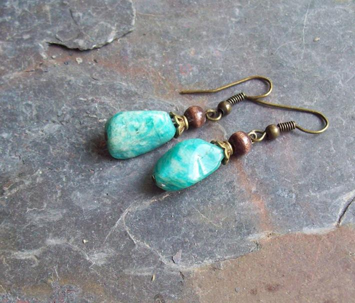 Amazon Blue Amazonite nugget drop earrings with natural Ebony wood and brass