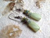 Gladiola natural faceted Jadeite rectangular summer earrings with Amazonite and Aquamarine