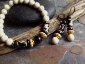 Gazelle Riverstone beaded Bracelet and earrings set with Tibetan agate beads natural Onyx and African brass and bone beads