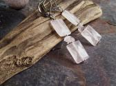 Grenache Genuine Rose Quartz faceted rectangle dangle earrings with Sterling silver