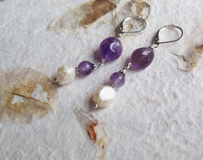 Prosecco Genuine Amethyst nugget beads with natural Freshwater Pearls and Sterling silver