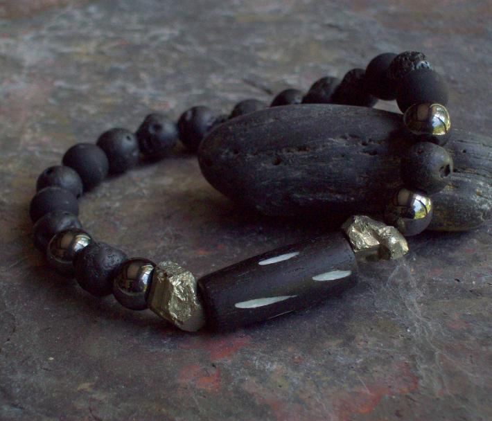 VIKING Black Lava beaded stretch bracelet with Hematite Raw Iron Pyrite and Wooden Hand Carved cylinder