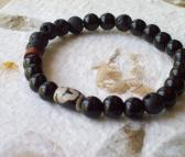 Caldera Black Onyx and Lava Bracelet with Tibetan Hand Etched Agate and Bauxite African Trade Bead Stretch Bracelet for men