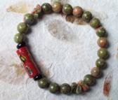 SAGANO Unakite Jasper Beaded stretch bracelet with Red Millefiori Venetian glass Trade Bead