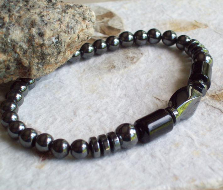 Reflections Beaded stretch Bracelet with shiny Hematite beads and Black Onyx cylinders