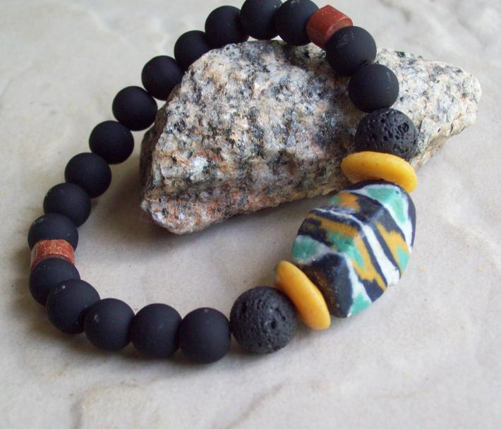 RAMESSES African King Bicone trade bead bracelet with Black Matte Glass Bauxite Trade beads and Natural Lava