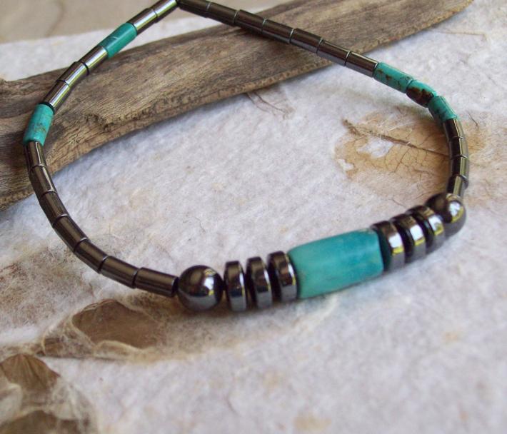 Mercury  Sleek Cylindrical Hematite Energy bracelet with natural Turquoise