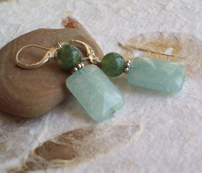 Marina Aqua Agate rectangle earrings with Moss agate and Sterling silver