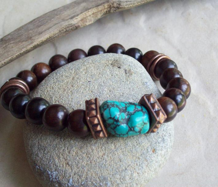 KONA ebony wood bracelet with bold copper beads and Turquoise nugget bead