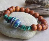 Denali Bracelet Bayong wooden beaded Stretch Bracelet with Blue Bicone African Trade Bead Genuine Malachite stone