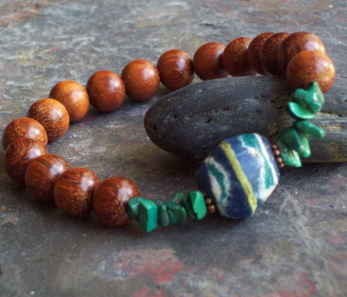 Denali Bracelet Bayong wooden beaded Stretch Bracelet with Blue Bicone African Trade Bead Genuine Malachite stone