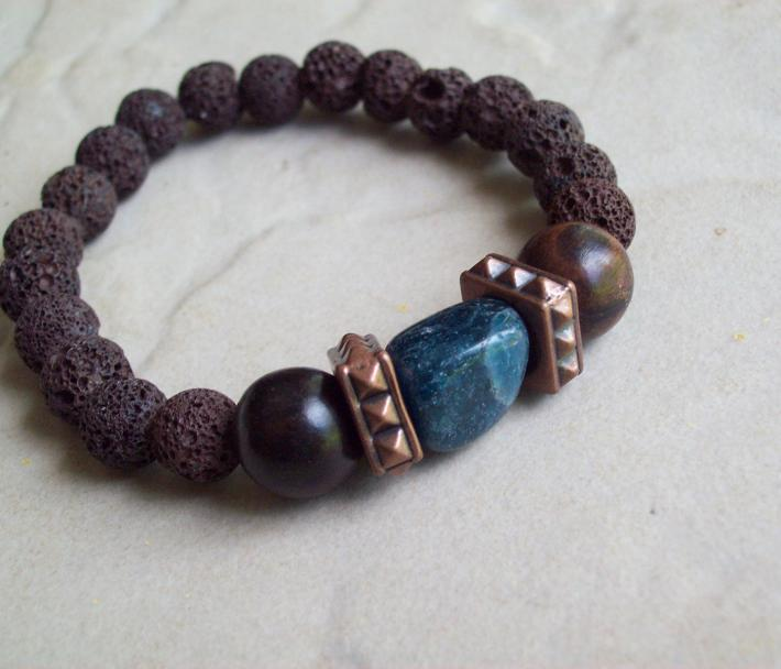 Kilauea Natural Lava stretch Bracelet with Copper and Apatite stone nugget and Ebony wood