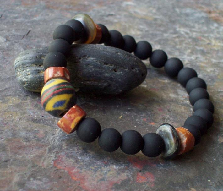 Osiris Bracelet  Black Matte glass bracelet with African Bi Cone King trade bead and Bauxite trade beads with natural Antelope Horn