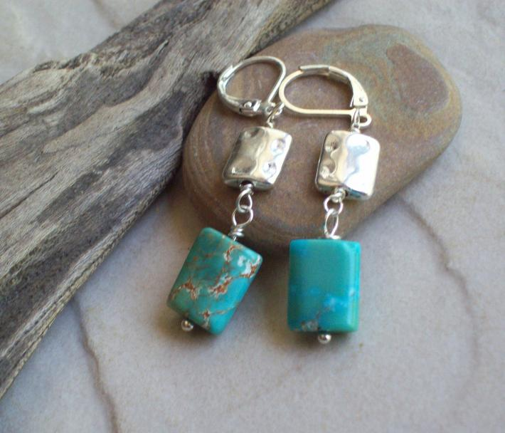Charis  Turquoise square puff dangle earrings with Silverplated squares  Genuine American turquoise
