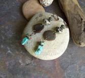 Palomino Turquoise dangle earrings with Dalmation Jasper