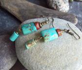 Minoa Turquoise dangle earrings with Bauxite Trade Beads