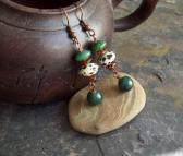 Hummingbird Green Jade and Moss Agate earrings with Baltic Amber