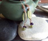 Filia Czech Glass earrings with Green Garnet and Amethyst