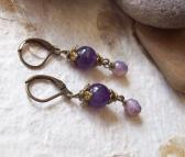 CRYSALLIS – Genuine Amethyst earrings with Purple Czech glass